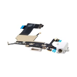iPhone 5 Dock Connector Charging Port and Headphone Jack Flex φόρτισης/ ακουστικών Λευκό