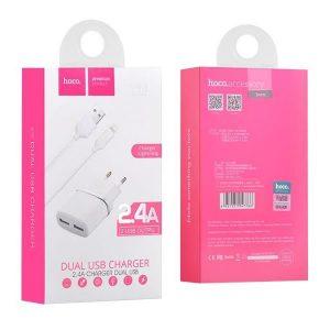 Φορτιστής κινητού Hoco C12 2.4A 2 USB + iPhone καλώδιο lightning λευκό