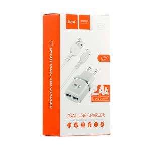 Hoco C12 Διπλός USB Φορτιστής 2.4A με Καλώδιο Type-C USB