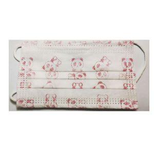 Παιδικές Μάσκες Προστασίας Μιας Χρήσης 3ply για κορίτσια 6-12 Ετών (5 τεμάχια) Λευκό/ Ροζ