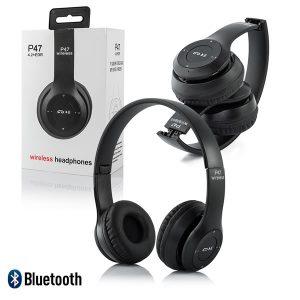 Ασύρματα ακουστικά Bluetooth P47 MP3 FM Μαύρο