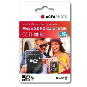 Κάρτα μνήμης AgfaPhoto microSDHC 8GB Class 10 με Adapter