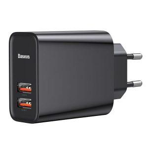 Φορτιστής Baseus 2x USB Wall Charger Μαύρο (Speed Dual QC3.0)