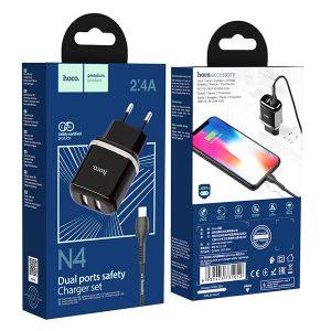Φορτιστής Hoco N4 με καλώδιο Lightning 1m 12W (2.4A) 2x USB