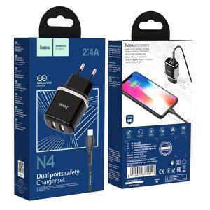 Φορτιστής ταξιδιού Hoco Micro- USB N4 12W (2.4A) 2x USB plug- Μαύρο