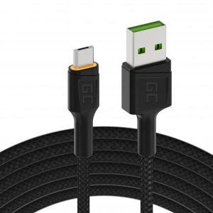 Καλώδιο Green Cell GC Ray Micro-USB σε USB Yellow LED 120cm