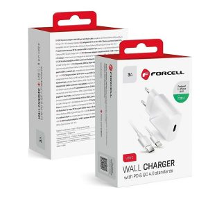 Φορτιστής Forcell USB Type-C σε Lightning Cable & Wall Adapter Λευκό (Travel Charger PD QC4.0)